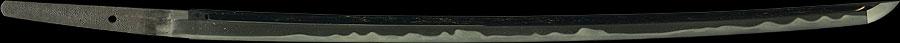 日本刀  菊紋 洛陽信濃守藤原信吉造之 平安城住信勝以南蛮鉄打之(全体2)